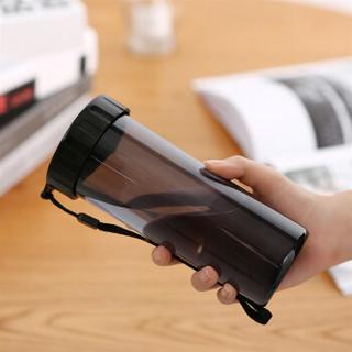 特百惠(Tupperware)莹彩塑料杯随心水杯子430ML  运动密封防漏便携水杯 酷炫黑