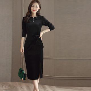 米兰茵 MILANYIN 女装 2019年春季新款长袖中长款H型韩版圆领高腰套头连衣裙 ML19135 黑色 XL