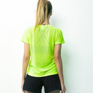 范迪慕 瑜伽服上衣女跑步健身运动宽松瑜伽短袖 FDM20292-荧光黄-单件短袖-S