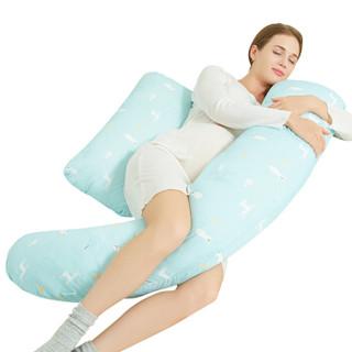 佳韵宝 H型多功能孕妇枕护腰侧睡枕抱枕缤蓝雪原