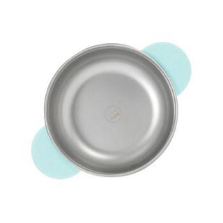 gb好孩子 儿童餐具辅食碗 宝宝 吸盘碗 注水保温碗+单耳碗+水杯+勺+叉 不锈钢餐具5件套装 飞碟系列 蓝白