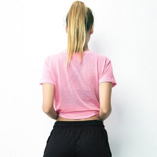 范迪慕 瑜伽服 女跑步健身服速干网格运动健身上衣 FDM20292-粉色-单件短袖-S