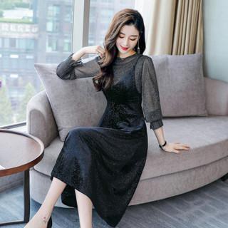 米兰茵 MILANYIN 女装 2019年春季长袖中长款两件套中腰套头时尚潮流连衣裙 ML19100 黑色 XL