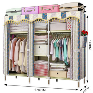 MENGKALAI/梦卡莱 简易衣柜 170CM-Q02 欧式条纹 复合面料 170*45*170cm