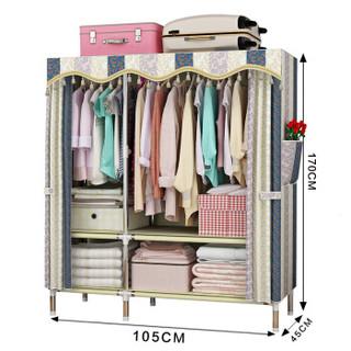 MENGKALAI/梦卡莱 简易衣柜 105CM-F02 欧式条纹 复合面料 105*45*170cm