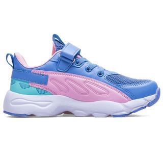 双星童鞋男女儿童鞋跑步鞋潮流运动休闲鞋透气舒适耐磨防滑春款 ET-9028 蓝粉 235(37码)