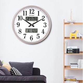 精科(JINGKE)挂钟 客厅创意现代日历挂表静音办公时钟温湿度简约石英钟表 0286 金色 液晶款