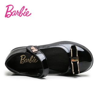 芭比 BARBIE 童鞋 春秋款女童皮鞋 蝴蝶扣儿童公主鞋 女童单鞋 2212 黑色 27
