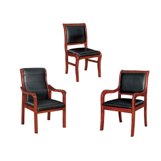 蜂电(FENG DIAN) 木质办公洽谈椅 实木餐桌椅子四脚培训职员会议椅  高档款