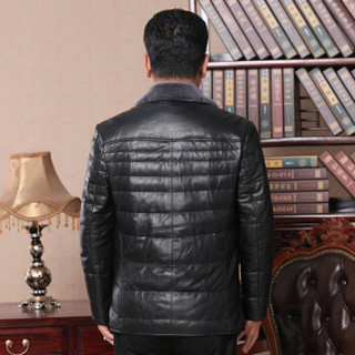 恒源祥 真皮皮衣男装中老年爸爸装纯羊毛领外套绵羊皮白鸭绒填充羽绒男式皮草 1622PY18003