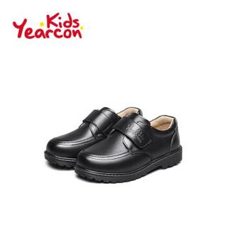 意尔康童鞋男童皮鞋2019春秋新款中大童儿童休闲学生校园演出鞋子ECZ9148722 黑色 31