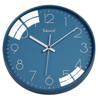 天王星(Telesonic)掛鐘 客廳創意鐘表現代簡約靜音鐘時尚個性3D立體時鐘臥室石英鐘圓形掛表Q8721-4藍色