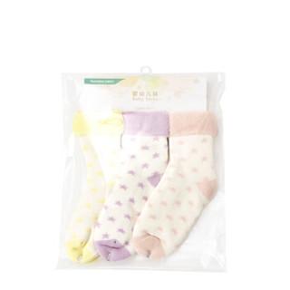 全棉时代 婴幼儿星星内毛圈提花袜 13cm(建议2-3岁) 浅黄+丁香紫+浅粉 3双/袋