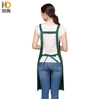 耐典 韩版防泼水围裙厨房服务员纯棉男女工作服定制ND-YK688 绿色