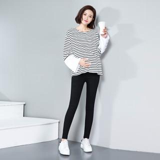 莫代尔 Madallo 孕妇裤时尚修身孕妇装托腹裤 可调节孕妇长裤小脚裤夏季黑色XL码(推荐115-125斤穿)
