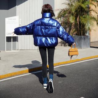 古地斯 GuDiSi 羽绒服女短款2018冬季新款欧洲站羽绒衣韩版休闲宽松面包服时尚小个子加厚外套 8896 蓝色 M