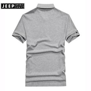 吉普JEEP短袖T恤男POLO衫男士2019夏装新品半袖翻领纯色棉男装FSMS1037黑色 XL