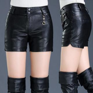 欧偲麦 皮短裤女春季新款PU皮裤女短款直筒休闲高腰短裤女大码修身显瘦外穿 HS-1691-0 黑色 2尺1