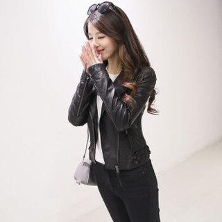 堡晟 2019春季新款女装新品仿皮皮衣短款时尚拉链韩版修身百搭pu皮外套街头潮 cchNHZ68 黑色 M