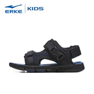 鸿星尔克(ERKE)儿童凉鞋男童鞋夏女童沙滩鞋 63119206063 正黑/藏深蓝 34码