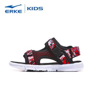 鸿星尔克(ERKE)儿童凉鞋男童鞋夏女童沙滩鞋 63119206063 正黑/大红 34码