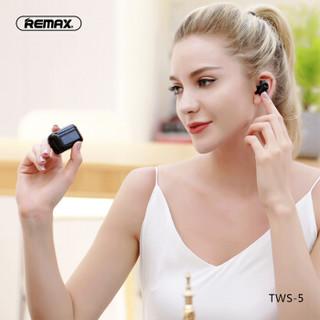 REMAX TWS5无线蓝牙耳机双耳迷你超小隐形耳塞5.0入耳式开车运动跑步超长待机男女苹果安卓手机通用 墨绿
