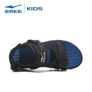 鸿星尔克(ERKE)儿童凉鞋男童鞋夏女童沙滩鞋 63119206063 正黑/藏深蓝 32码