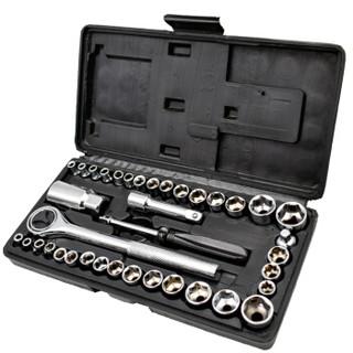 勒塔(LETA) 套筒工具40件套6.3mm/10mm 多功能加长棘轮公英制内六角套筒扳手套装 汽车维修工具箱LT-AM712