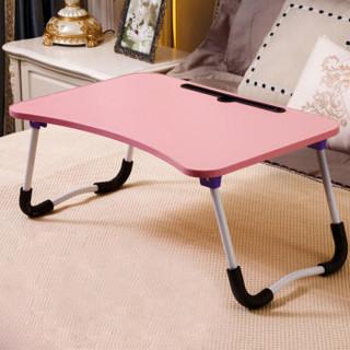 易漫 笔记本电脑桌折叠床上宿舍小书桌带平板卡槽W腿防滑升级版果粉色60*40