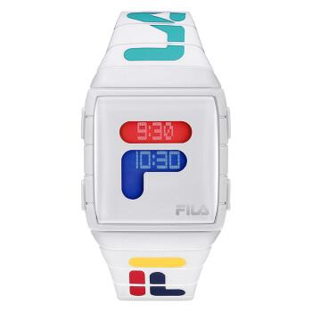 斐乐(FILA)手表男女款36mm白表盘白边PU带潮流情侣电子手表  FL38-105-007