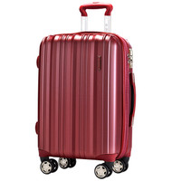 SUMMIT 万向轮拉杆箱PC材质行李箱女20英寸可扩容旅行箱登机箱子防刮 PC154T4A 酒红