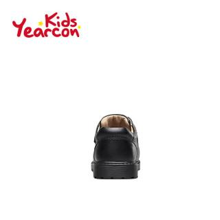 意尔康童鞋男童皮鞋2019春秋新款中大童儿童休闲学生校园演出鞋子ECZ9148722 黑色 33