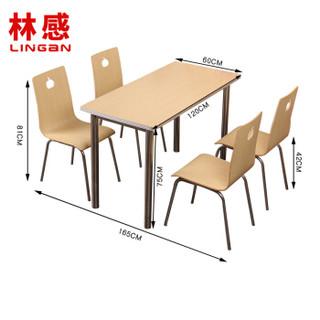 林感 快餐桌椅 不锈钢四人食堂餐桌椅 四脚架员工餐厅桌椅 饭店餐饮店 高速服务区 桌椅板凳组合一桌四椅