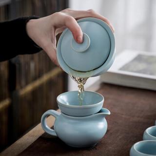 言艺 功夫茶具套装简约汝窑陶瓷盖碗泡茶壶茶杯整套 寻青10件套
