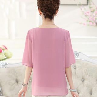 YUZHAOLIN 俞兆林 夏装新款中老年女装时尚绣花雪纺衫大码妈妈装短袖T恤 YWMM192252