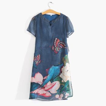 YUZHAOLIN 俞兆林 夏装新款中老年女装民族风妈妈装雪纺短袖连衣裙 YWMM19226