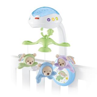费雪 Fisher-Price 新款新生儿婴儿安抚睡眠 3合1安睡萌熊投影床铃 CDN41