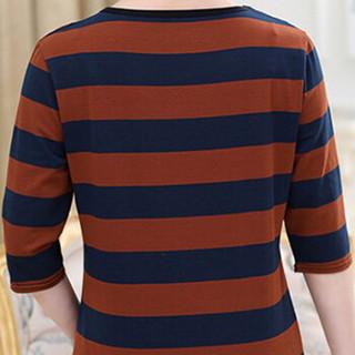 YUZHAOLIN 俞兆林 夏装新款中老年女装条纹中袖妈妈装T恤打底衫 YWMM192254