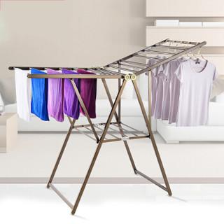 好益晾晾衣架 铝合金落地可折叠 伸缩 折叠翼型室内晒被晒衣架 标准大号 香槟金