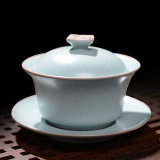 东道 汝窑功夫茶具三才盖碗景德镇开片陶瓷盖碗礼盒装 卧龙盖碗-天青色
