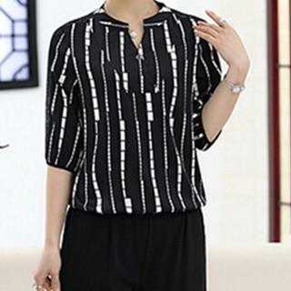 俞兆林 2019夏装新款中老年女装妈妈装两件套气质短袖T恤+七分裤套装 YWMM192274 黑色V领 XXXL