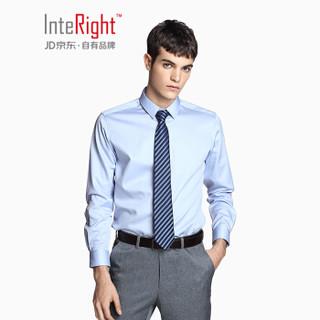 InteRight 缎面丝光棉暗门襟商务休闲长袖衬衫 INTERIGHT