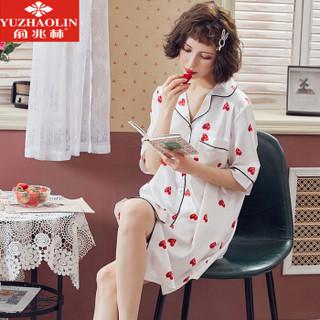 俞兆林睡裙女夏冰丝短袖仿真丝绸连体开衫性感睡裙家居服 红心裙 L