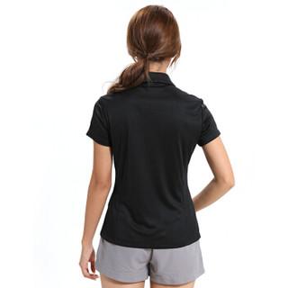 Surefire 神火 19年春夏新款吸湿排汗速干情侣款短袖户外POLO衫 Y020008 黑色-女款 XL
