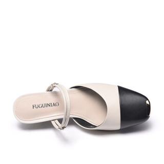 Fuguiniao 富贵鸟 粗跟女凉鞋包头欧美潮一字扣带时尚休闲百搭K99G122C 黑/米白 35