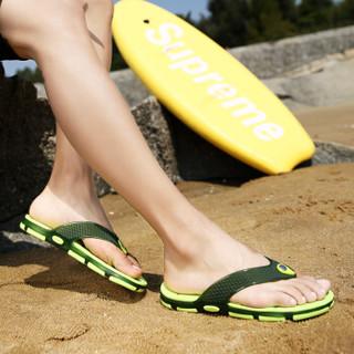 Nan ji ren 南极人 男士时尚简约夹脚户外沙滩情侣款人字拖鞋 JRLMGT8813 男款绿色 44