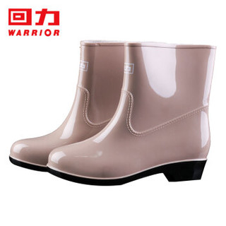 回力雨鞋女士款时尚雨靴户外防水防滑耐磨HL523卡其39码