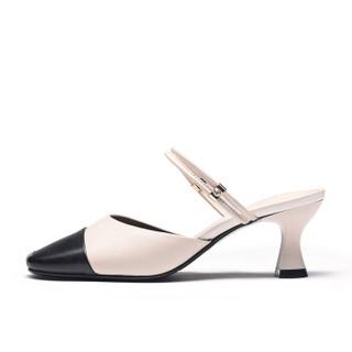 Fuguiniao 富贵鸟 粗跟女凉鞋包头欧美潮一字扣带时尚休闲百搭K99G122C 黑/米白 37