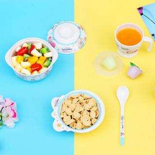盛广达儿童餐具套装 密胺儿童碗牛奶杯套装可爱便携组合辅食餐具四件套