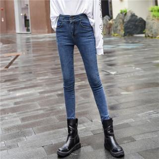 新薇丽(Sum Rayleigh)高腰牛仔裤女春季新款2019 韩版显瘦紧身九分小脚裤 KXLF1833 浅蓝单款 2XL